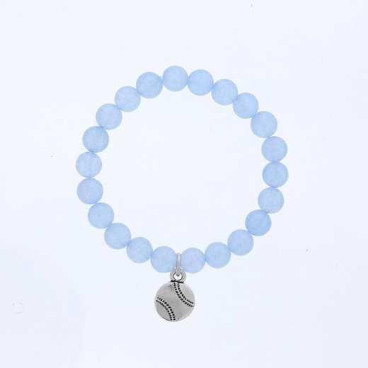 DBJ-BRC-2809BBQ: Silver tone Pewter baseball charm with baby blue quartzite