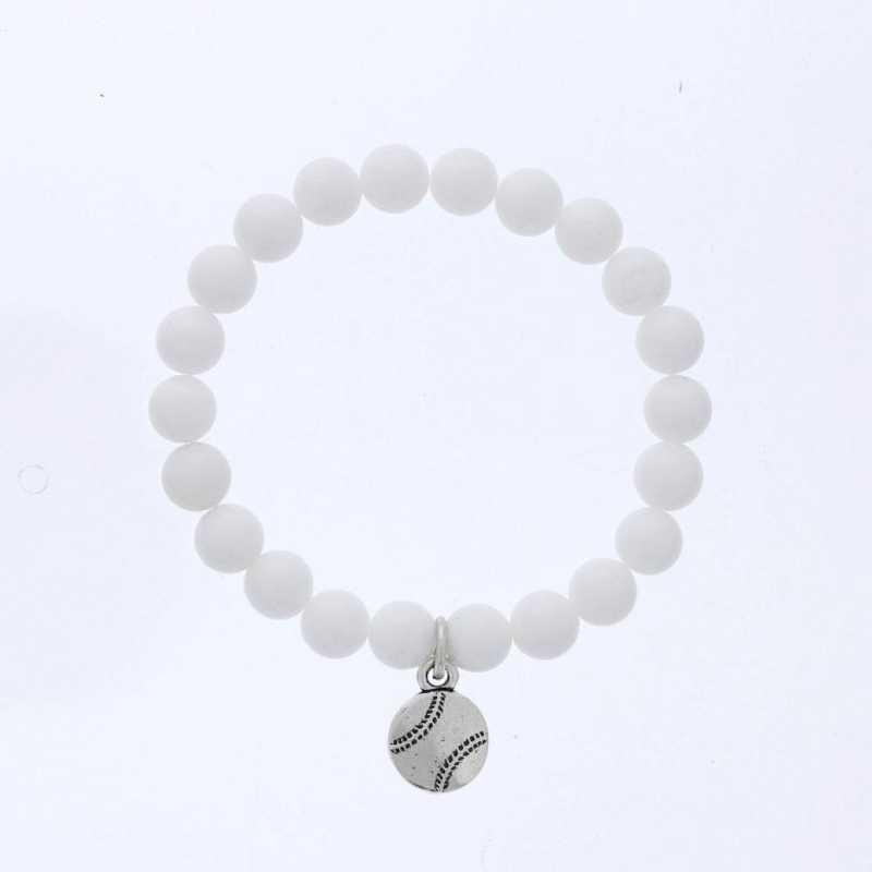 DBJ-BRC-2809CWQ: Silver tone Pewter baseball charm  with  white quartzite