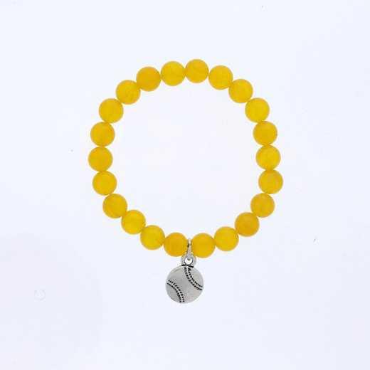 DBJ-BRC-2809DYQ: Silver tone Pewter baseball charm with dark yellow quartzite