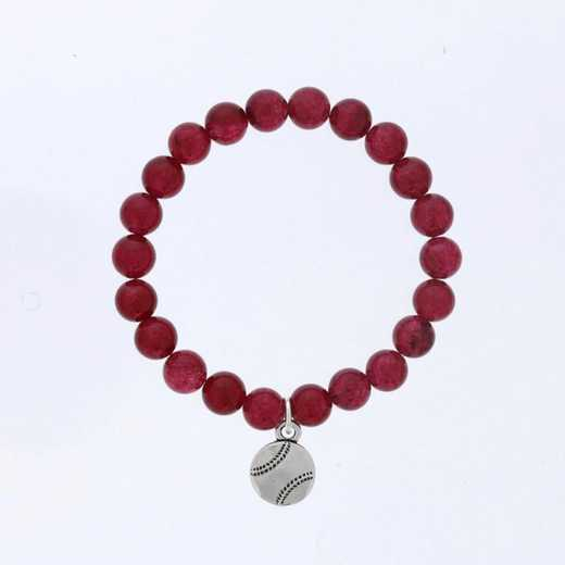DBJ-BRC-2809RBY: Silver tone Pewter baseball charm  with  ruby agate
