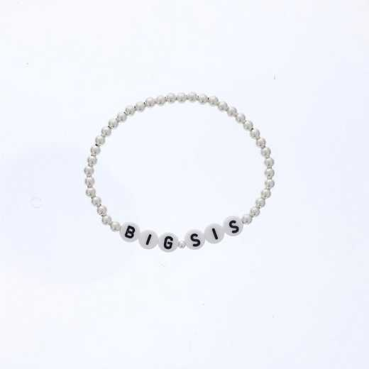 DBJ-BRC-2819SS: Sterling silver 4mm beads and acrylic message letters