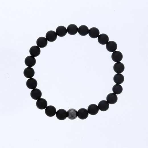 DBJ-MENS-5331:  mens matte black agate with  hemittie accent bead