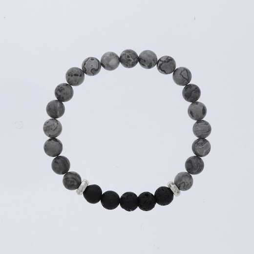 DBJ-MENS-5334:  mens granite larvakite with lava stone bar and sterling silver hammered spacers