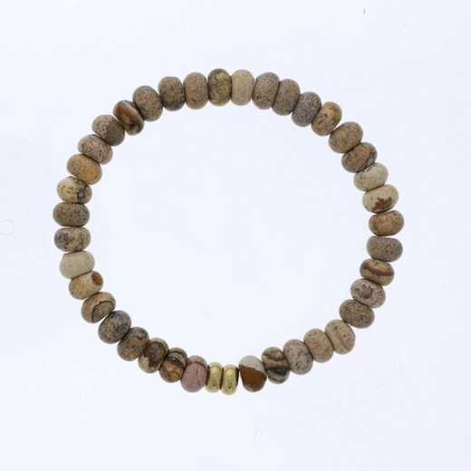 DBJ-MENS-5335: 8mm mens fossil rondelle with gold hammered spacers