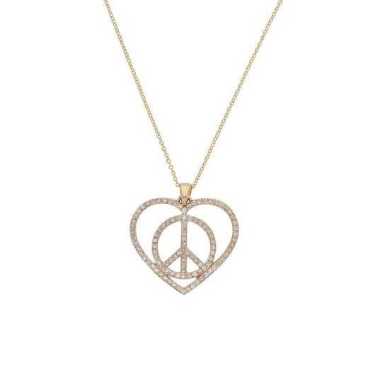 DBJ-NCK-300914KT: 14KT sold gold and diamond peace in my heart necklace