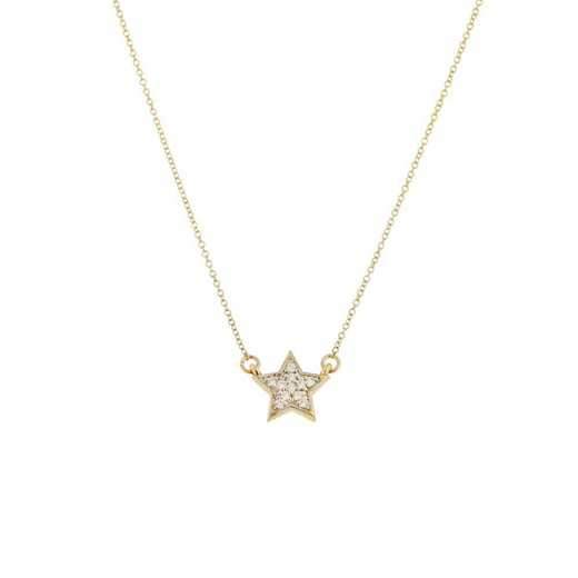 DBJ-NCK-301414KT: 14KT solid gold and diamond star necklace