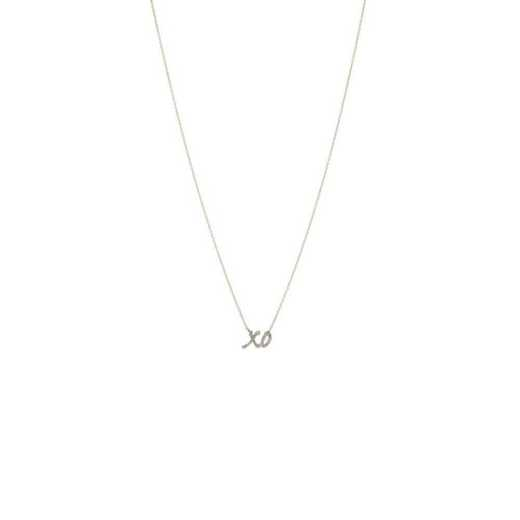 DBJ-NCK-311914KT: 14KT solid gold and diamond xo necklace