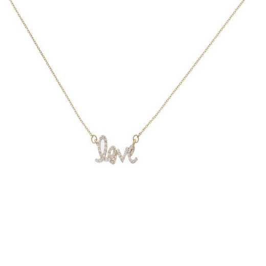 DBJ-NCK-321714KT: 14KT solid gold and diamond love necklace
