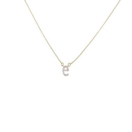 DBJ-NCK-321814KT: 14KT solid gold and diamond initial necklace