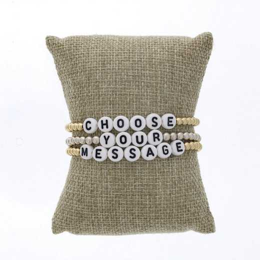 DBJ-STK-2823: Custom message (up to 10 characters) w 4mm sterling silver or gold filled and acrylic beads