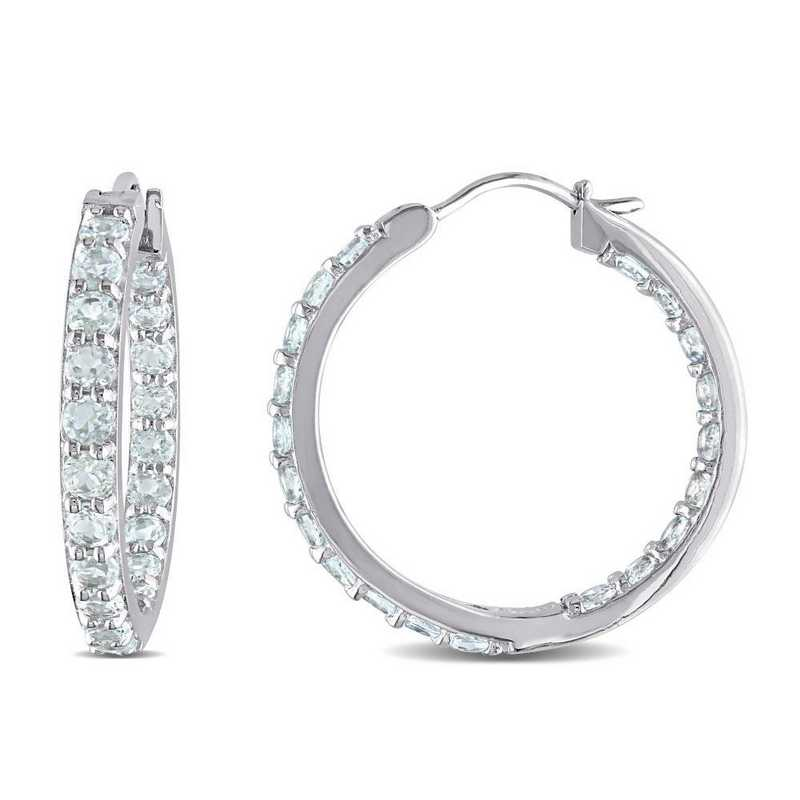BAL000283: Aquamare side Outside Hoop Earrgs  Sterlg Silver