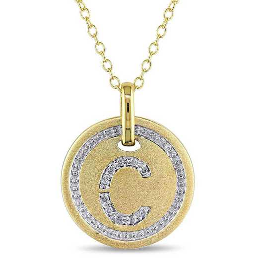 """BAL001323: Diamond Accent Initial """"C"""" Pendant W/ Chain in YP SS"""