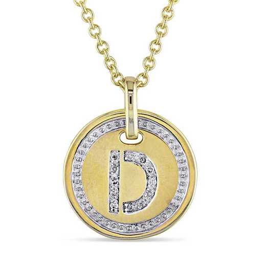 """BAL001324: Diamond Accent Initial """"D"""" Pendant W/ Chain in YP SS"""