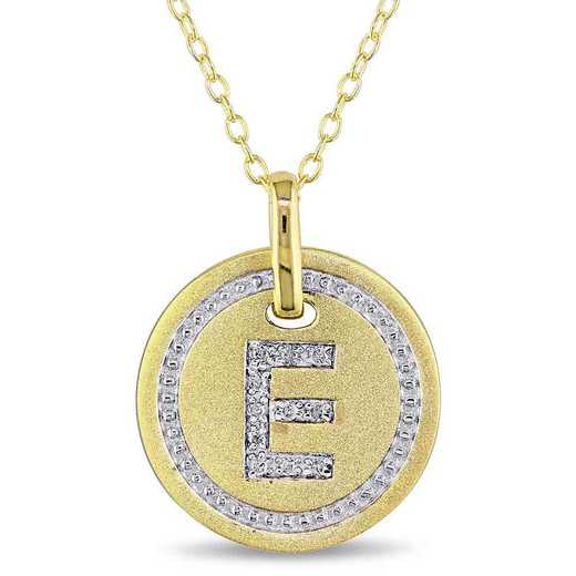 """BAL001325: Diamond Accent Initial """"E"""" Pendant W/ Chain in YP SS"""