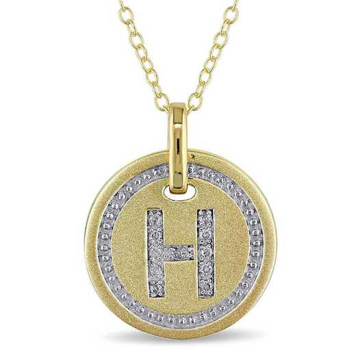 """BAL001326: Diamond Accent Initial """"H"""" Pendant W/ Chain in YP SS"""
