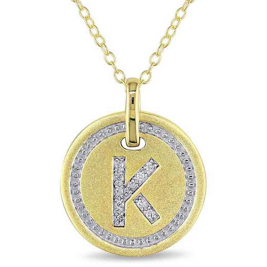 """BAL001328: Diamond Accent Initial """"K"""" Pendant W/ Chain in YP SS"""