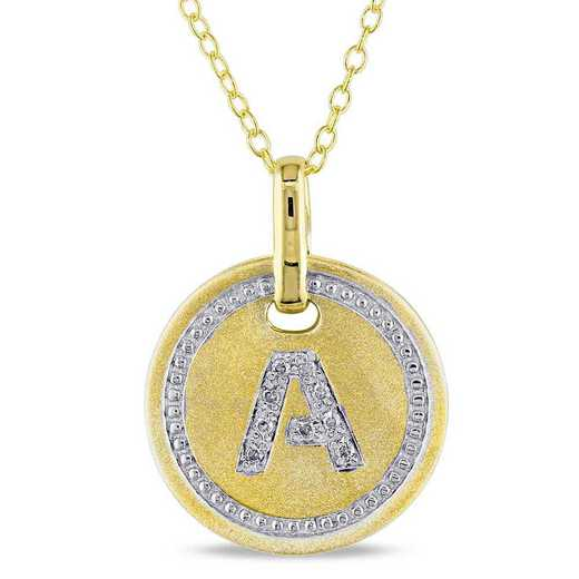 """BAL001330: Diamond Accent Initial """"A"""" Pendant W/ Chain in YP SS"""
