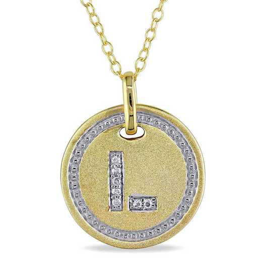 """BAL001332: Diamond Accent Initial """"L"""" Pendant W/ Chain in YP SS"""