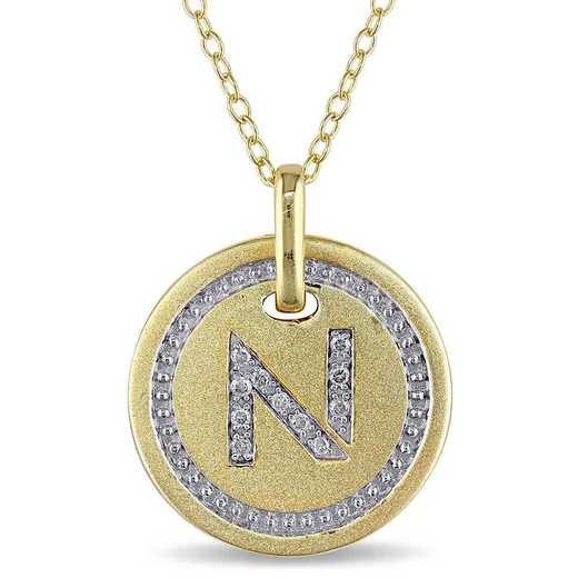 """BAL001333: Diamond Accent Initial """"N"""" Pendant W/ Chain in YP SS"""