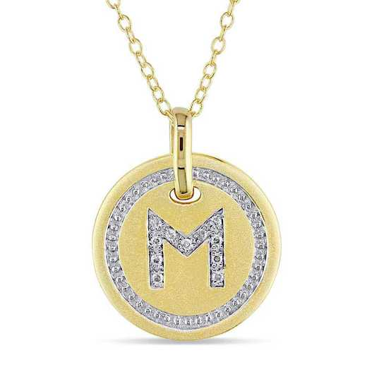 """BAL001336: Diamond Accent Initial """"M"""" Pendant W/ Chain in YP SS"""