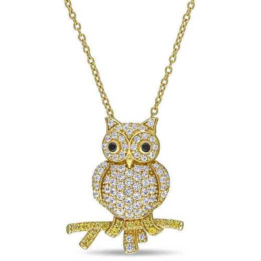 BAL001339: 1 3/8 CT TGW Blk Spinel Crtd SapphireCluster Owl Ncklc YP SS