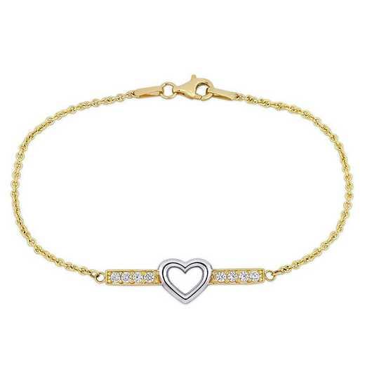 BAL001249: 2/5 TCW White Topaz Heart Bar Bracelet in 10k Two-Tone Gld