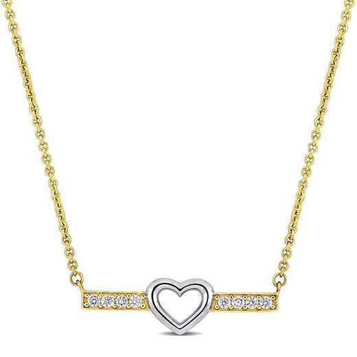 BAL001275: 2/5 TCW White Topaz Heart Bar Necklace in 10k Two-Tone Gld