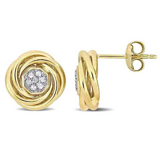 BAL001291: White Topaz Accent Swirl Halo Stud Earrings in 14k YG