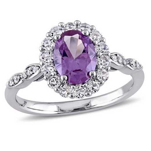 Created Alexandrite- White Topaz and Diamond Halo Vintage Ring in 14k White Gold