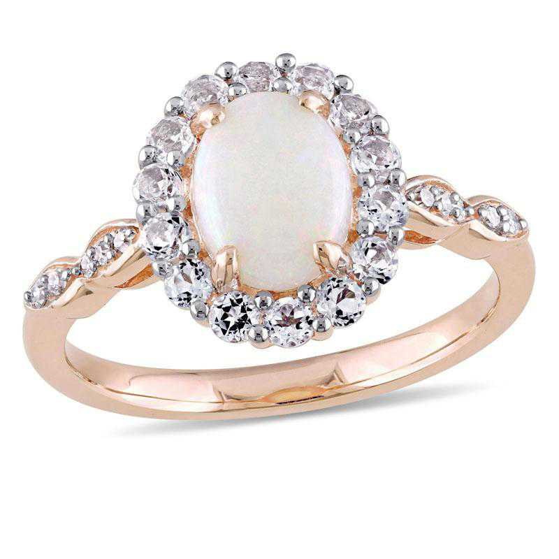 Opal- White Topaz and Diamond Accent Halo Vintage Ring in 14k Rose Gold