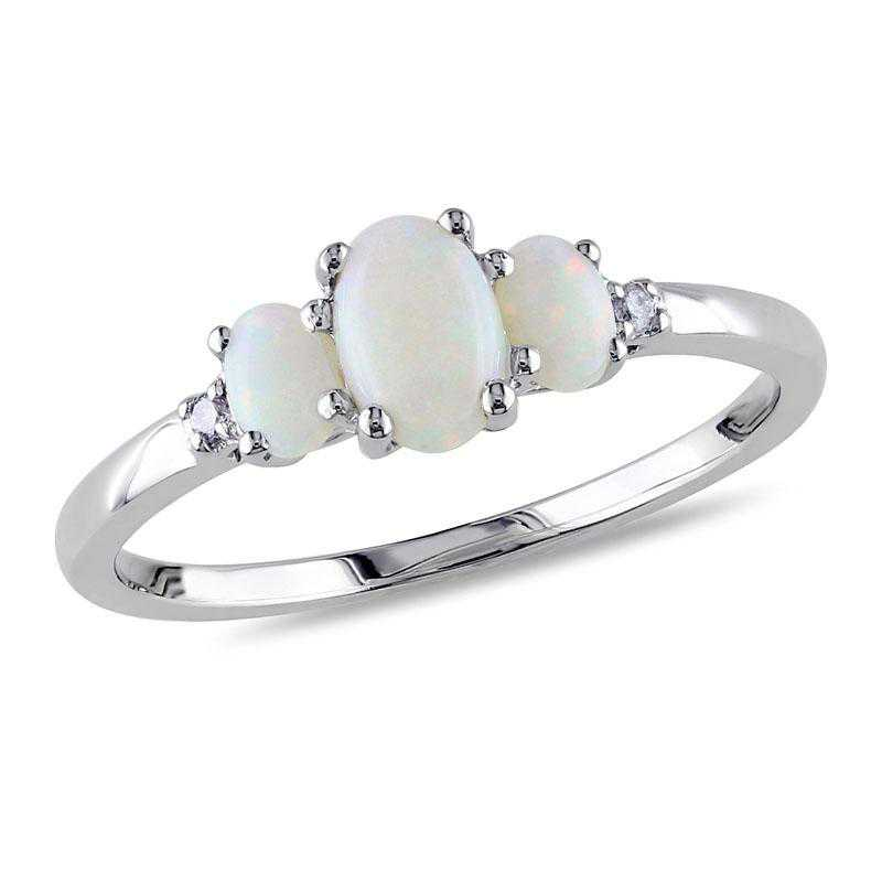 Oval Opal 3-Stone Ring with Diamonds in 10k White Gold