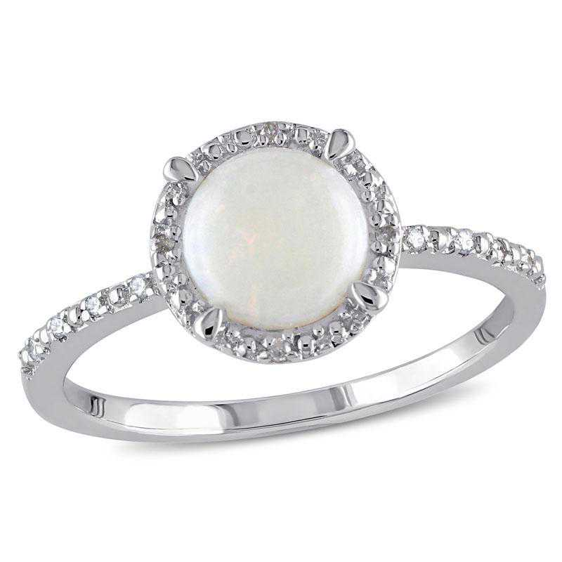 Opal and Diamond Accent Halo Ring in Sterling Silver