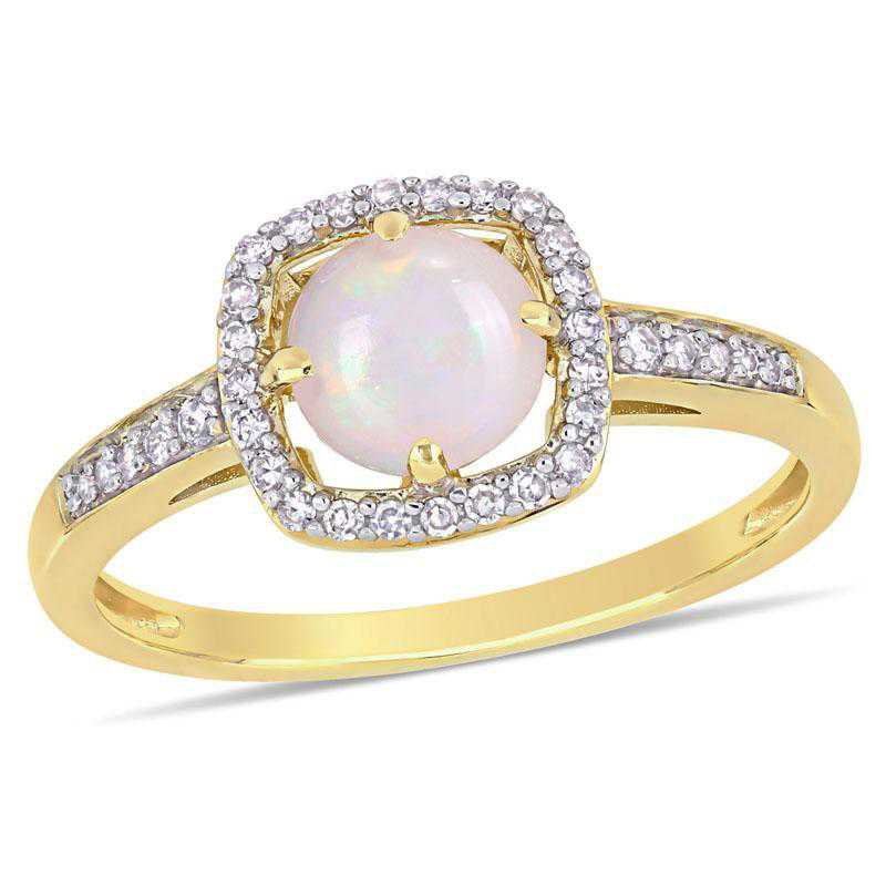 Opal and 1/7 CT TW Diamond Floating Halo Square Ring in 10k Yellow Gold