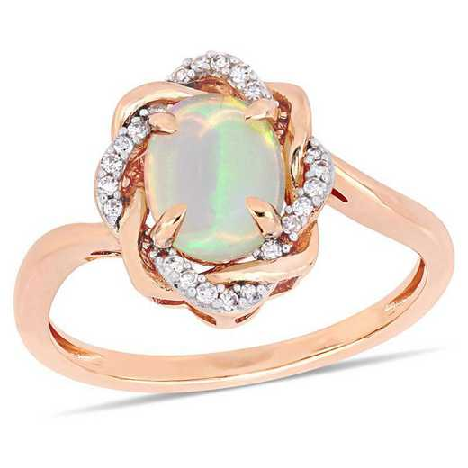 Blue Opal and 1/10 CT TW Diamond Interlaced Halo Ring 10k Rose Gold