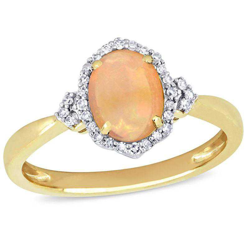 Opal and 1/8 CT TW Diamond Halo Vintage Ring 10k Yellow Gold