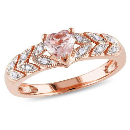 Morganite and Diamond Accent Heart Ring in 10k Rose Gold