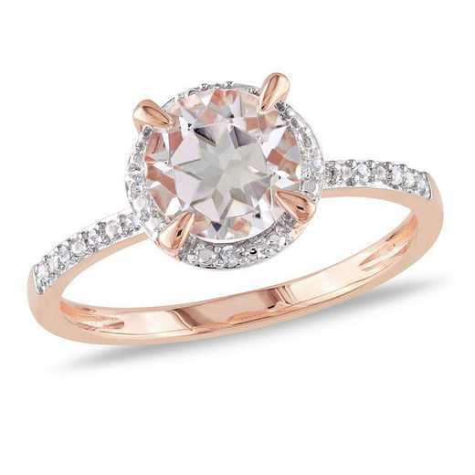Morganite and Diamond Accent Halo Ring in 10k Rose Gold