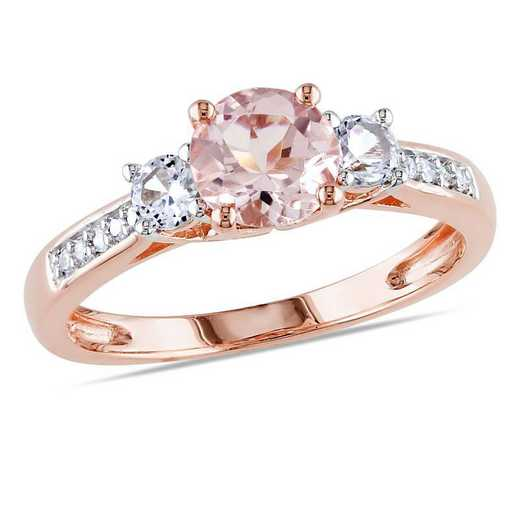 Morganite and Created White Sapphire 3-Stone Ring with Diamonds in 10k Rose Gold