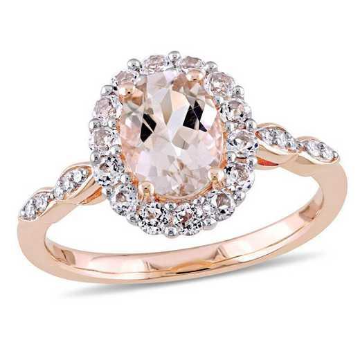 Morganite- White Topaz and Diamond Halo Vintage Ring in 14k Rose Gold