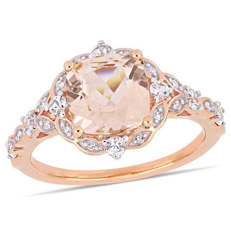 Morganite- White Sapphire and Diamond Accent Halo Vintage Ring in 14k Rose Gold