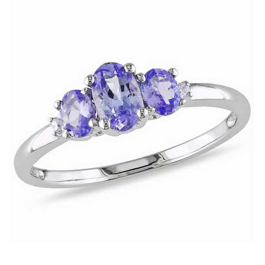Oval Tanzanite 3-Stone Ring with Diamonds in 10k White Gold