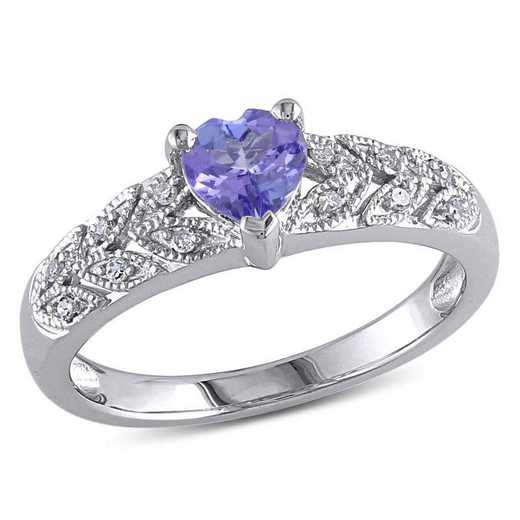 Tanzanite and Diamond Accent Heart Ring in Sterling Silver