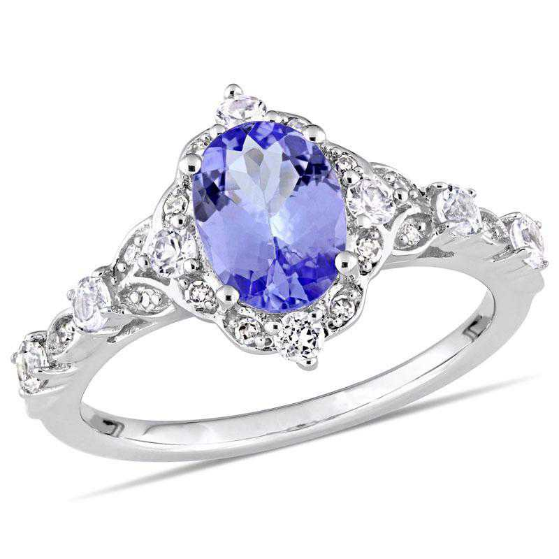Tanzanite- White Sapphire and Diamond Accent Halo Vintage Ring in 14k White Gold