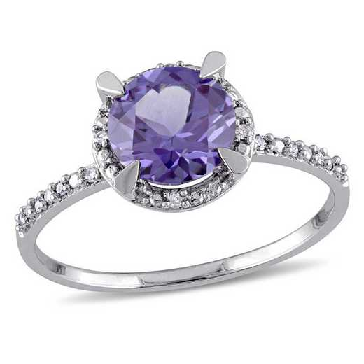 Created Alexandrite and Diamond Accent Halo Ring in 10k White Gold