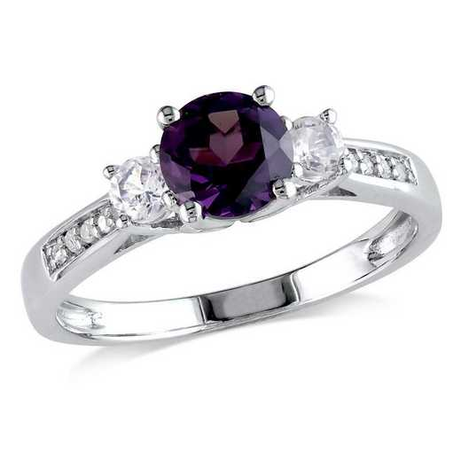 Created Alexandrite and White Sapphire 3-Stone Ring with Diamonds in 10k White Gold