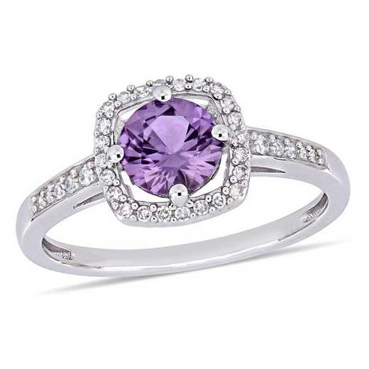 Created Alexandrite and 1/7 CT TW Diamond Floating Halo Square Ring in 10k White Gold