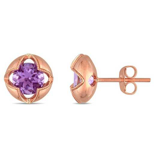 BAL000971: Amethyst Floral Halo Stud Earrings in 10k Rose Gold