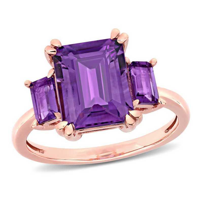 Amethyst 3-Stone Ring in 14k Rose Gold