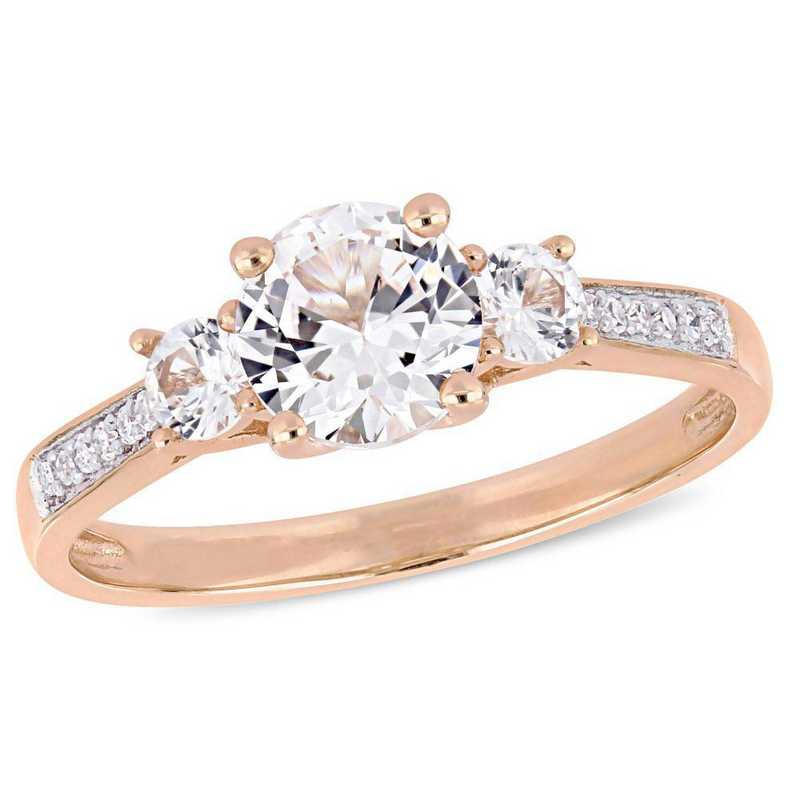Created White Sapphire 3 Stone Ring with Diamond Accents in 10k Rose Gold