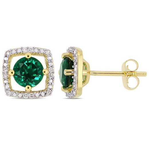 BAL001068: Created Emerald/Diamond Square Stud Earrings/10k Yelow Gold